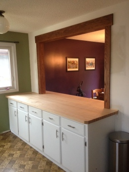 Soild maple counter and custom cabinets
