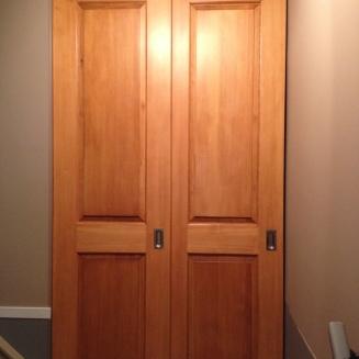VG Fir Raised panel Full height sliding door