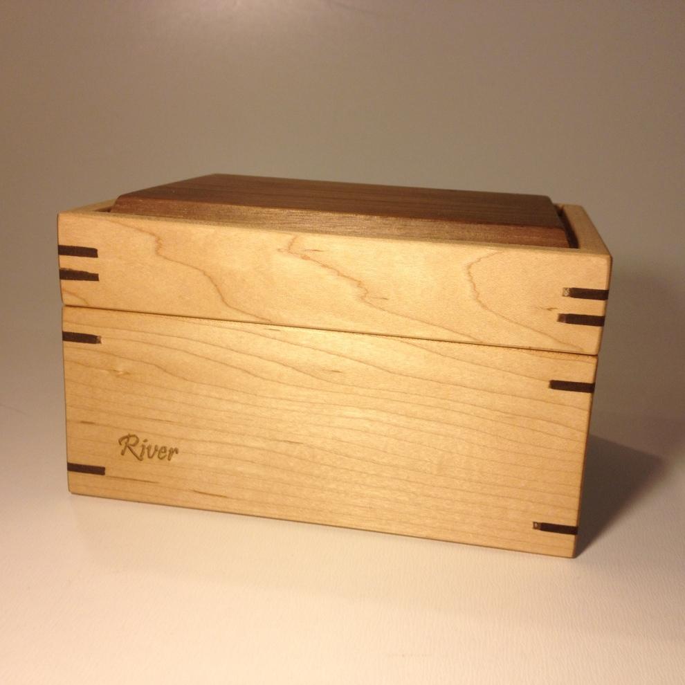 Engraved Maple and Walnut Spline Treasure Box