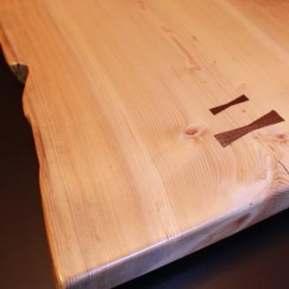 Fir Slab Bench w/ walnut dovetail keys